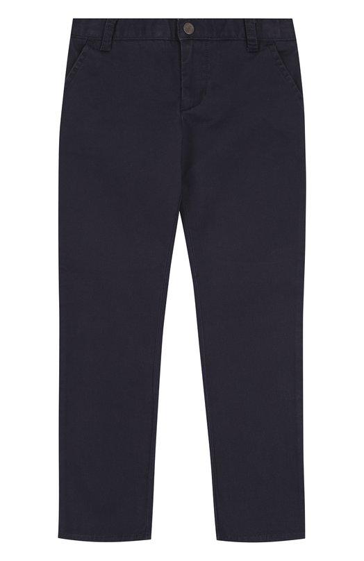 Купить Хлопковые брюки прямого кроя Armani Junior, 6Y4P09/4NEQZ/4A-10A, Камбоджа, Темно-синий, Хлопок: 98%; Эластан: 2%;