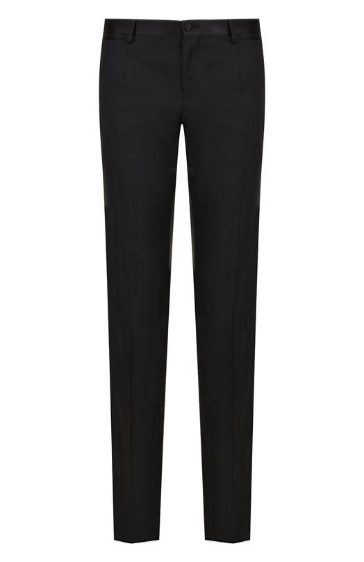 Купить Шерстяные брюки прямого кроя с шелковой отделкой Dolce & Gabbana, 0101/GY58MT/FU2NF, Италия, Черный, Шерсть: 90%; Шелк: 8%; Полиэстер: 2%; Подкладка-вискоза: 100%;