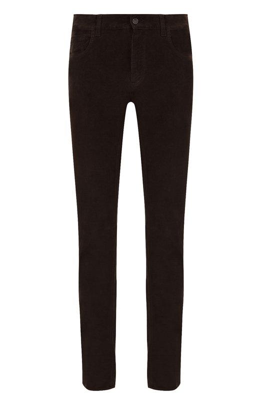 Купить Хлопковые брюки прямого кроя Brioni, SPL2/0Z002/STELVI0, Италия, Коричневый, Хлопок: 98%; Эластан: 2%;