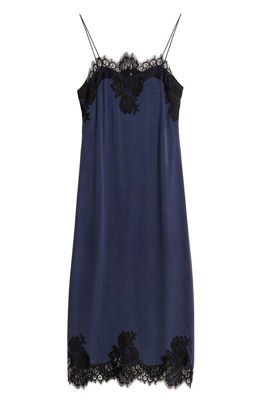 Купить Приталенное платье-комбинация с кружевной отделкой Alice + Olivia, CC708046512, Китай, Темно-синий, Подкладка-полиэстер: 94%; Шелк: 91%; Эластан: 9%; Подкладка-эластан: 6%;