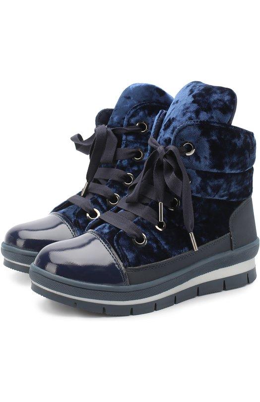 Купить Ботинки с текстильной отделкой на шнуровке Jog Dog, 14007R/ZAFFTU0N0CINIGLIA/36-41, Румыния, Синий, Текстиль: 75%; Пластмасса: 25%; Подошва-резина: 100%; Стелька-текстиль: 100%;