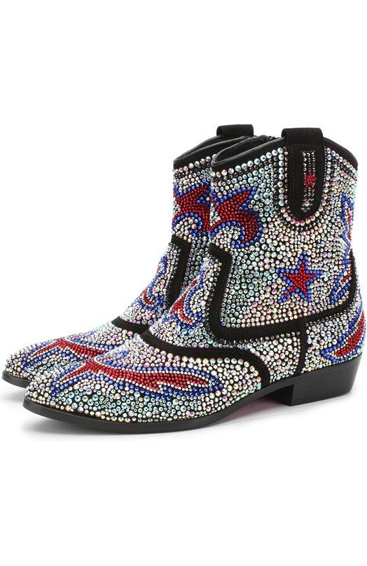 Купить Кожаные ботинки со стразами Missouri, 47131/31-34, Италия, Черный, Кожа натуральная: 100%; Стелька-кожа: 100%; Подошва-резина: 100%; Отделка-стекло: 100%;