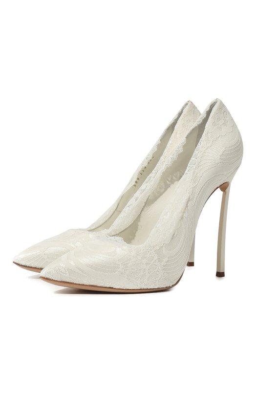 Купить Атласные туфли с кружевной отделкой на шпильке Blade Casadei, 1F267H120HX292905, Италия, Белый, Стелька-кожа: 100%; Подошва-кожа: 100%; Текстиль: 100%;