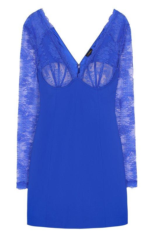 Купить Приталенное мини-платье с кружевным лифом La Perla, 000950B, Италия, Синий, Шерсть: 95%; Эластан: 5%; Подкладка-полиамид: 100%;