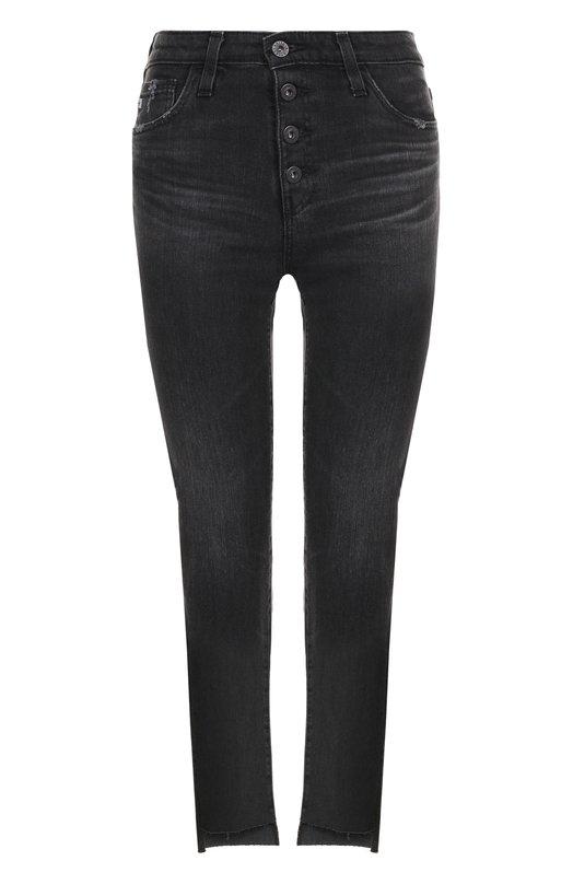 Купить Укороченные джинсы с потертостями Ag, LBK1782-UH/10Y-GNT, Мексика, Черный, Хлопок: 98%; Полиуретан: 2%;