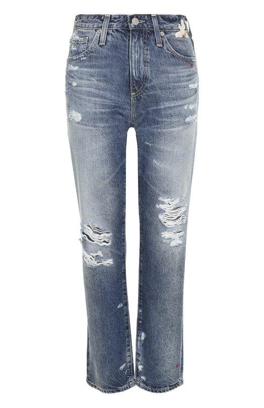 Укороченные джинсы с потертостями и вышивкой Ag Ag