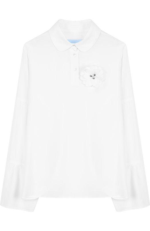 Блуза из шелка и вискозы с брошью Lanvin