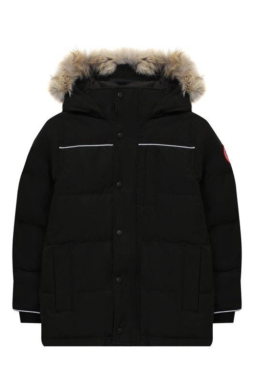 Купить Пуховая куртка Eakin с меховой отделкой на капюшоне Canada Goose, 4597Y, Канада, Черный, Полиэстер: 84%; Пух утиный: 80%; Перо: 20%; Хлопок: 16%; Подкладка-нейлон: 100%;