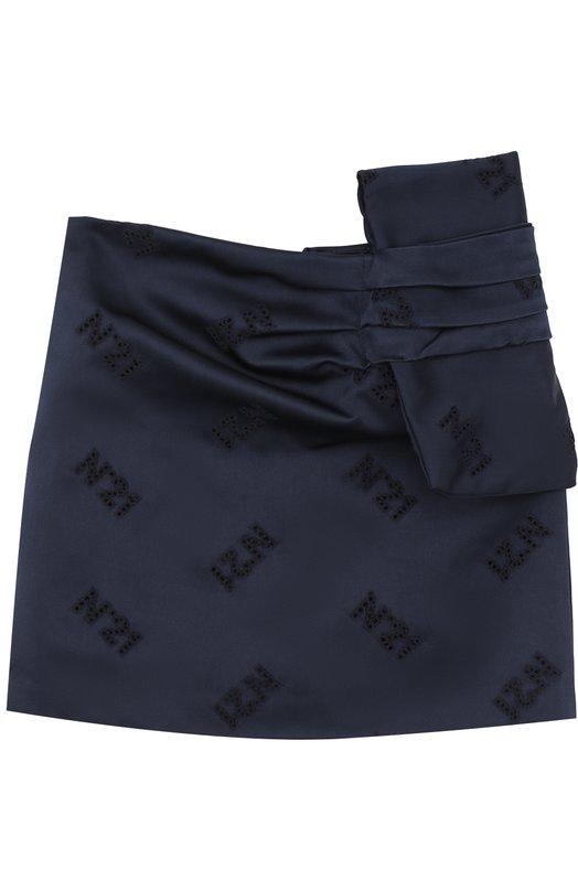 Купить Мини-юбка из полиэстера с бантом No. 21, 27 X/K303/6463/26-30, Италия, Темно-синий, Подкладка-ацетат: 60%; Подкладка-вискоза: 40%; Полиэстер: 100%;