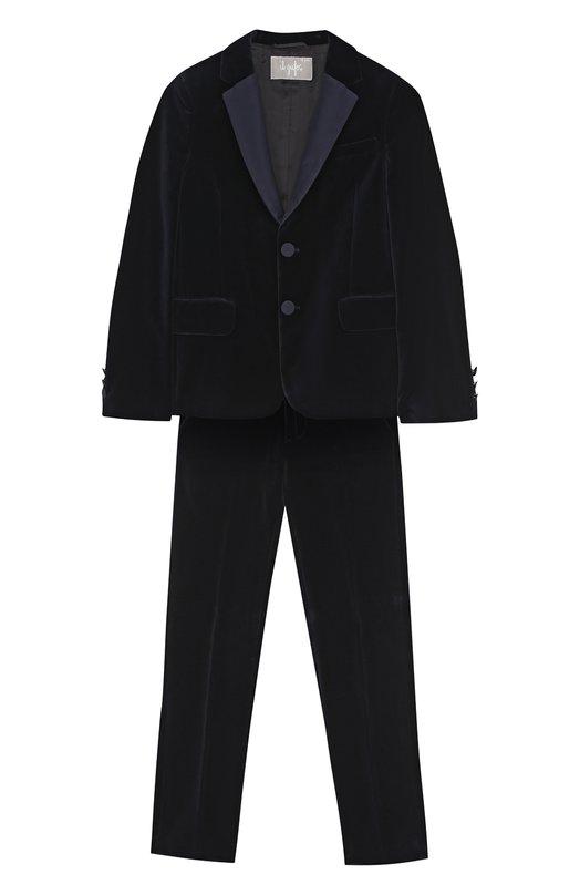 Купить Бархатный костюм с пиджаком на двух пуговицах Il Gufo, A17TX002V0001/5A-8A, Италия, Синий, Хлопок: 100%; Подкладка-вискоза: 100%;