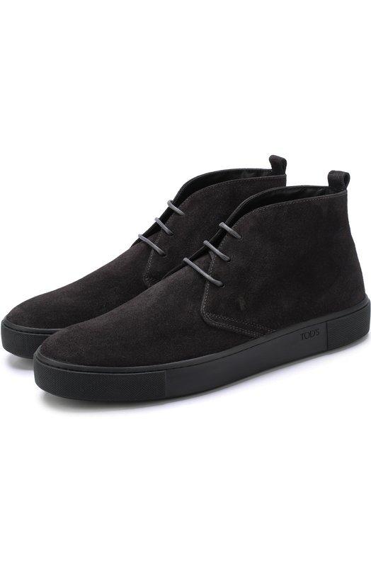 Купить Замшевые ботинки на шнуровке Tod's, XXM56A00D80RE0B603, Италия, Темно-серый, Стелька-кожа: 100%; Подошва-резина: 100%; Замша натуральная: 100%;