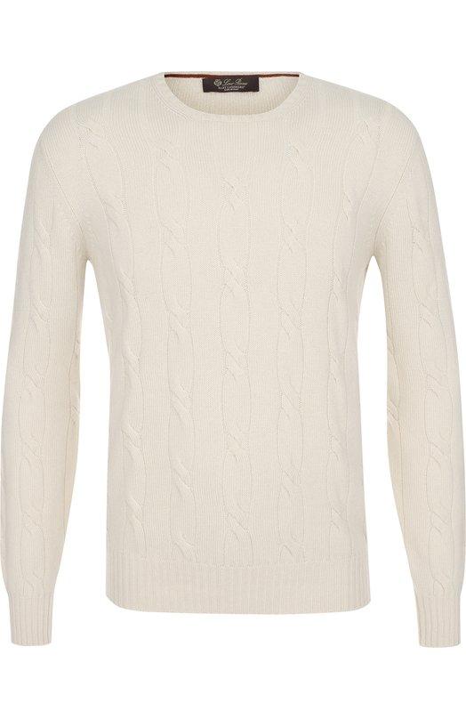 Купить Кашемировый джемпер фактурной вязки Loro Piana, FAG3378, Италия, Белый, Кашемир: 100%;