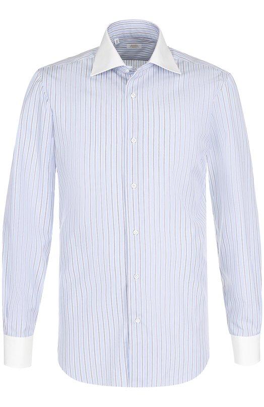 Купить Хлопковая сорочка с воротником акула Barba, D4U474PZ0947U, Италия, Голубой, Хлопок: 100%;