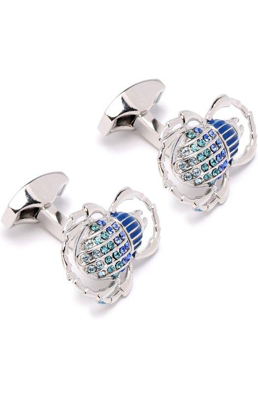 Купить Запонки с кристаллами Swarovski Tateossian, CL5958, Китай, Синий, Кристаллы Сваровски; Недрагоценный металл;