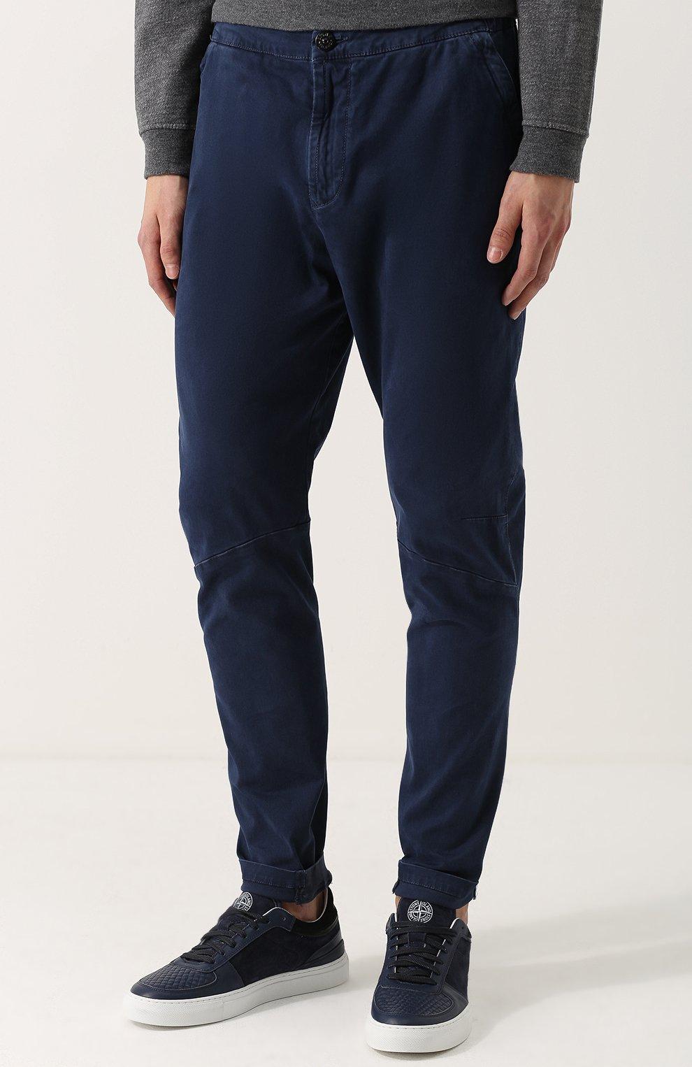 Синие хлопковые брюки из денима