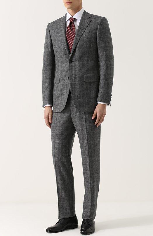 Шерстяной костюм в клетку с пиджаком на двух пуговицах Giorgio Armani