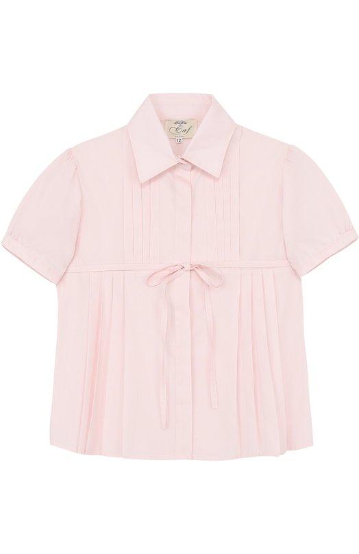 Хлопковая блуза с короткими рукавами и поясом Caf