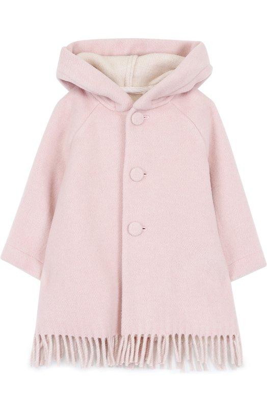 Купить Пальто с капюшоном и бахромой Il Gufo, A17GP183W0046/3M-9M, Италия, Светло-розовый, Полиамид: 35%; Шерсть: 35%; Вискоза: 30%;