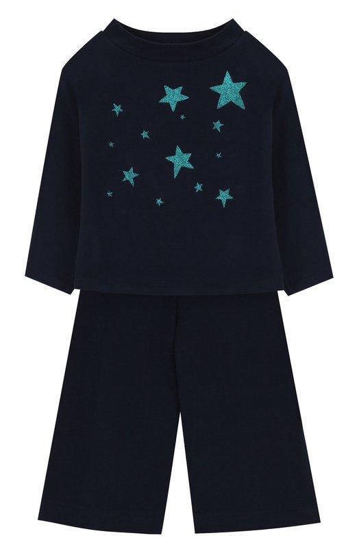 Купить Хлопковый костюм с принтом Il Gufo, A17DP2STM0019/2A-4A, Италия, Синий, Хлопок: 95%; Эластан: 5%;