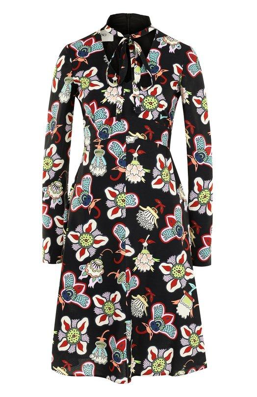 Купить Приталенное платье-миди с принтом Valentino, NB0VAFW1/3LE, Италия, Разноцветный, Вискоза: 100%; Подкладка-шелк: 100%;