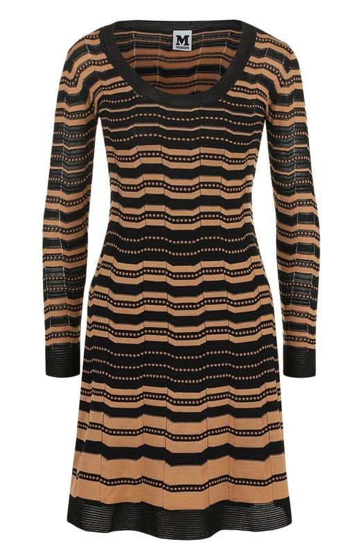 Купить Приталенное платье-миди в полоску M Missoni, ND0KD23L2MA, Китай, Черный, Полиамид: 43%; Шерсть: 35%; Хлопок: 22%; Подкладка-полиэстер: 100%;