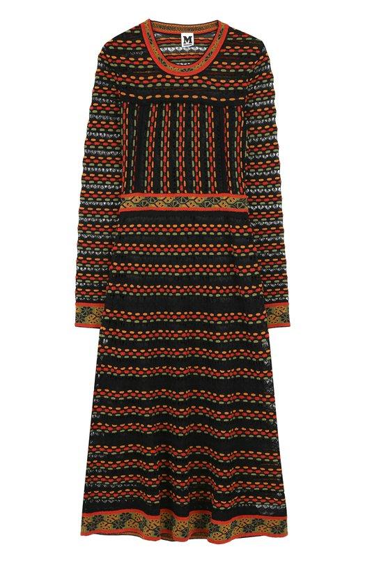 Купить Приталенное платье-миди с длинным рукавом M Missoni, ND0KD2J02M4, Румыния, Черный, Полиэстер: 7%; Шерсть: 41%; Вискоза: 4%; Хлопок: 18%; Полиакрил: 16%; Полиамид: 14%; Подкладка-полиэстер: 100%;