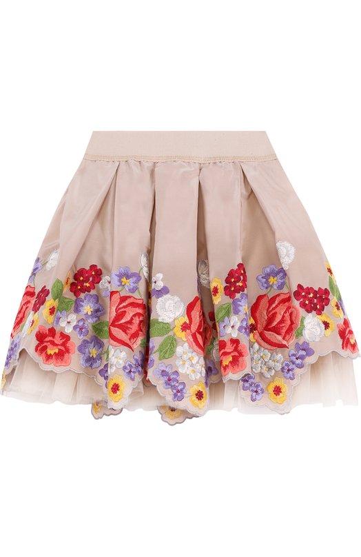Купить Многослойная мини-юбка с вышивкой и фигурным подолом Monnalisa, 110711, Италия, Бежевый, Ацетат: 73%; Полиэстер: 27%; Отделка-вискоза: 55%; Отделка-хлопок: 45%;