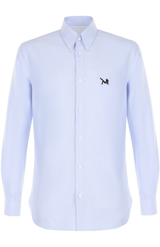 Купить Хлопковая рубашка с воротником button down CALVIN KLEIN 205W39NYC, 74MWTA18/C061, Италия, Голубой, Хлопок: 100%;
