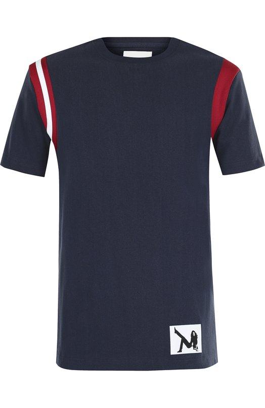 Купить Хлопковая футболка с контрастной отделкой CALVIN KLEIN 205W39NYC, 74MWTA34/C133, Италия, Темно-синий, Хлопок: 100%;