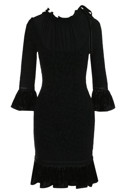 Приталенное платье-миди с укороченным рукавом Roberto Cavalli