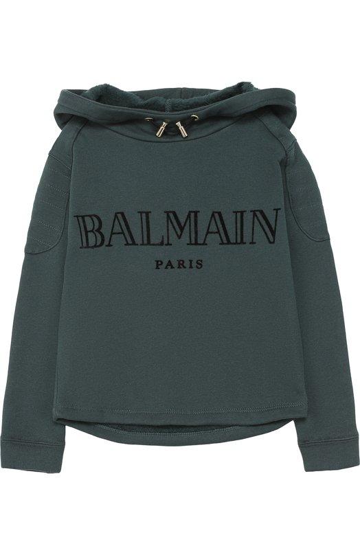Хлопковое худи с логотипом бренда Balmain