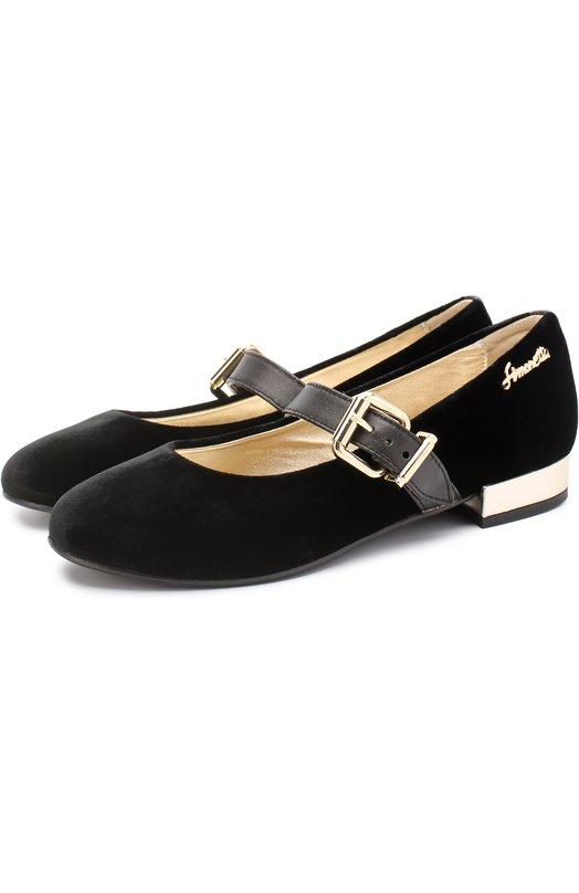 Бархатные туфли с кожаным ремешком Simonetta