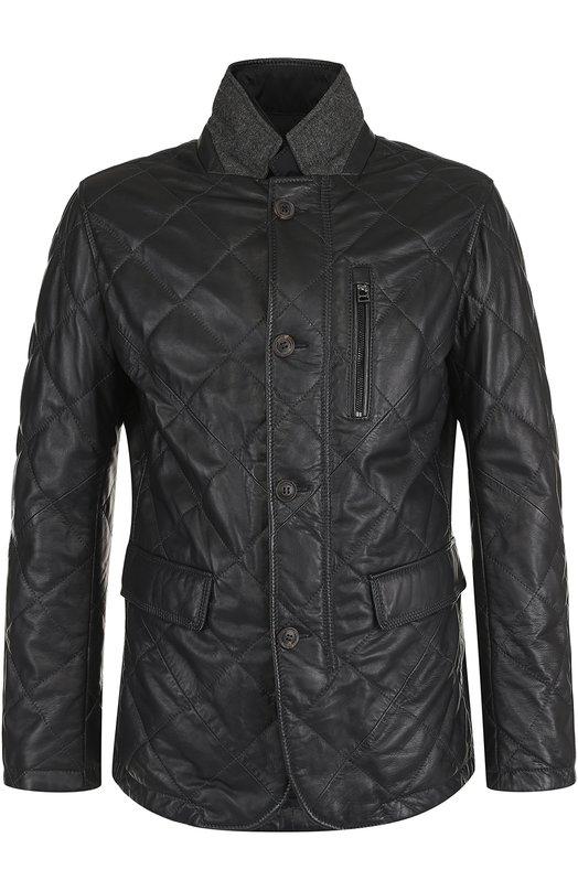 Купить Кожаная куртка на пуговицах с подстежкой Windsor, 13 TERN0-L 10004381, Индия, Темно-синий, Кожа натуральная: 100%; Подкладка-полиэстер: 100%;