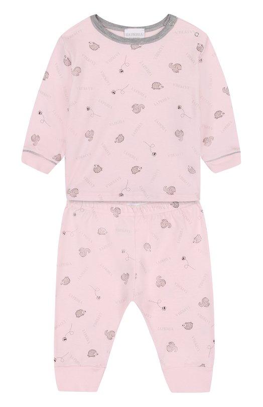 Купить Хлопковый костюм с принтом La Perla, 52545/1M-12M, Италия, Розовый, Хлопок: 100%;