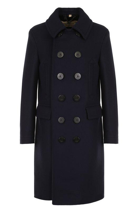 Купить Двубортное шерстяное пальто с отложным воротником Burberry, 4059559, Италия, Темно-синий, Шерсть: 80%; Подкладка-купра: 60%; Подкладка-хлопок: 40%; Полиамид: 20%;