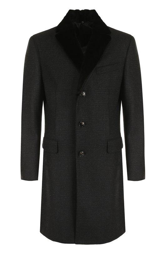 Купить Однобортное пальто из смеси шерсти и кашемира с меховым воротником Pal Zileri, L39C0Z4WP/22379, Италия, Черный, Шерсть: 90%; Подкладка-купра: 100%; Воротник/мех натуральный/: 100%; Кашемир: 10%;