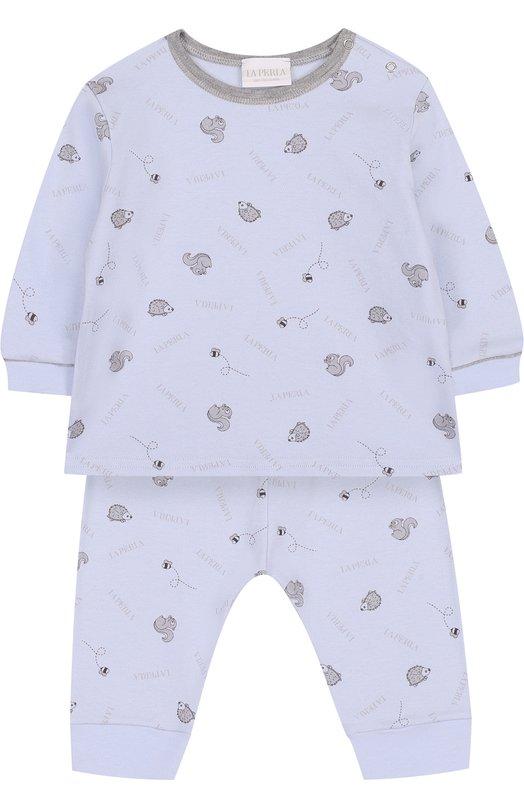 Купить Хлопковый костюм с принтом La Perla, 52545/1M-12M, Италия, Голубой, Хлопок: 100%;