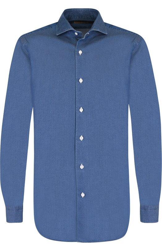 Купить Хлопковая рубашка с воротником акула Barba, D4U023518901U, Италия, Голубой, Хлопок: 100%;