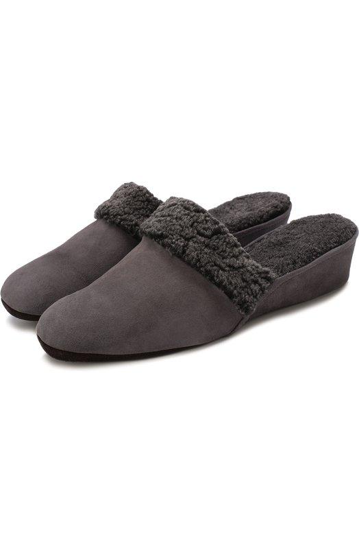 Купить Замшевые домашние туфли с внутренней отделкой из овчины Homers At Home, 9854/ANTE, Испания, Серый, Замша натуральная: 100%; Подошва-замша: 100%; Стелька-овчина: 100%; Отделка мех./овчина/: 100%;
