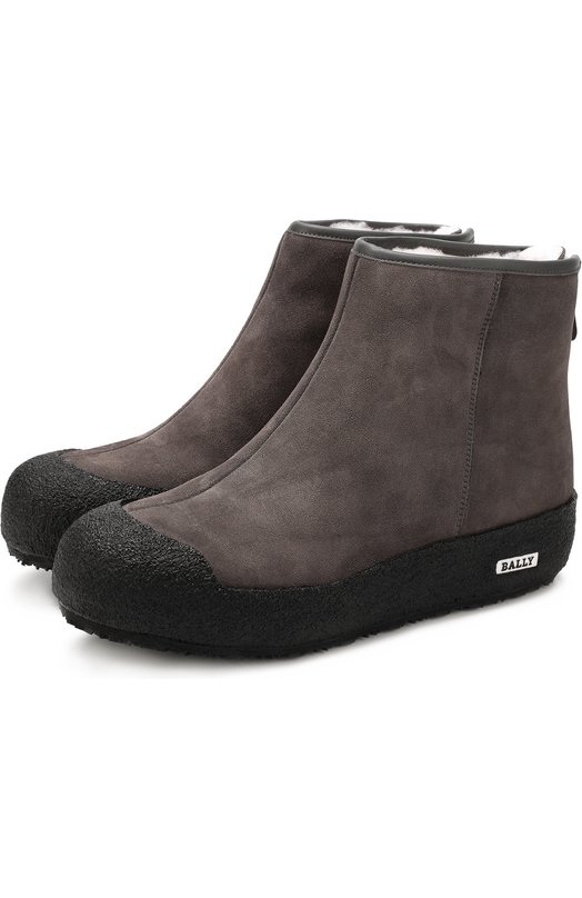 Купить Замшевые ботинки Guard с внутренней отделкой из эко-меха Bally, GUARD II L/CALF SUEDE, Китай, Серый, Подошва-резина: 100%; Резина: 100%; Замша натуральная: 100%; Стелька-мех искусств.: 100%;