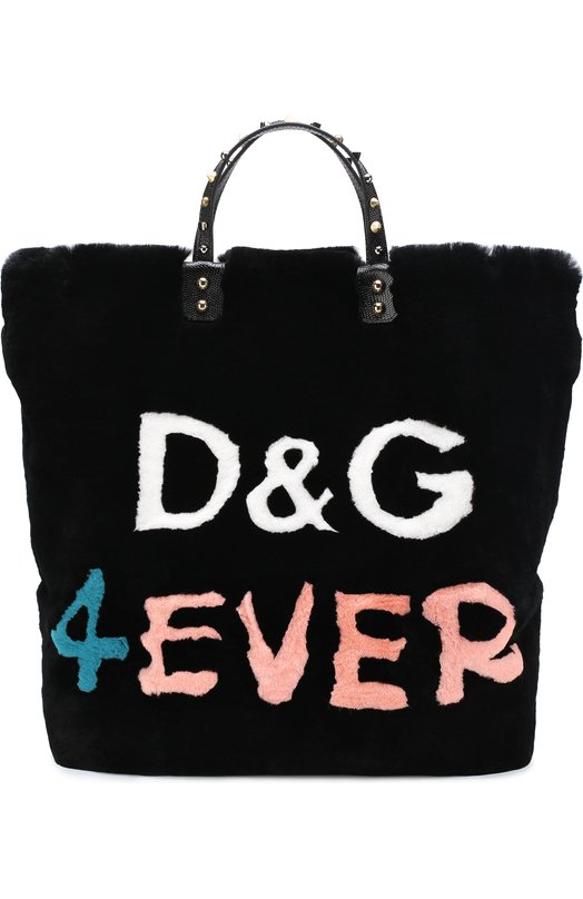 Купить Сумка Beatrice с отделкой из меха кролика Dolce & Gabbana, 0116/BB6429/AH265, Италия, Черный, Мех/кролик/: 80%; Кожа натуральная: 20%;