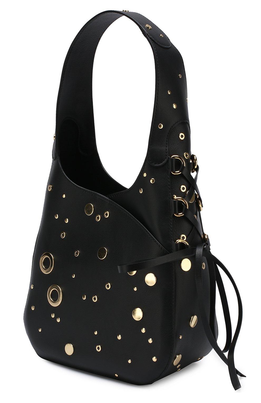 Черная сумка с широкой ручкой