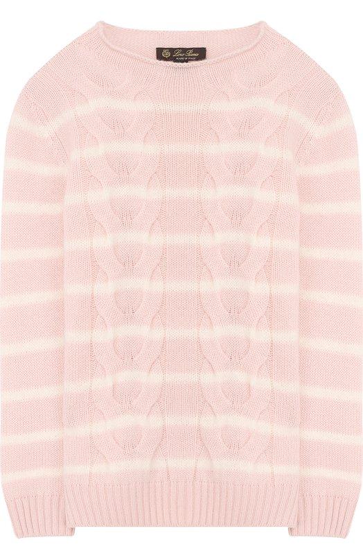 Пуловер фактурной вязки в полоску Loro Piana