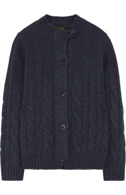 Купить Кашемировый кардиган фактурной вязки Loro Piana, FAG3822, Италия, Темно-синий, Кашемир: 100%;