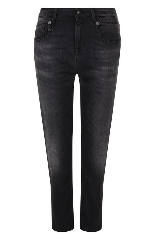 Укороченные джинсы прямого кроя с потертостями R13, R13W5776-534, Италия, Черный, Вискоза: 38%; Купра: 34%; Хлопок: 26%; Эластан: 2%; Отделка кожа натуральная: 100%;  - купить