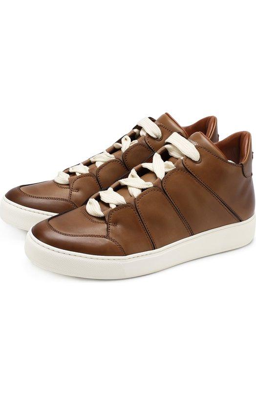 Купить Кожаные кеды на шнуровке Zegna Couture, A2891X-MFS, Италия, Светло-коричневый, Кожа натуральная: 100%; Стелька-кожа: 100%; Подошва-резина: 100%;