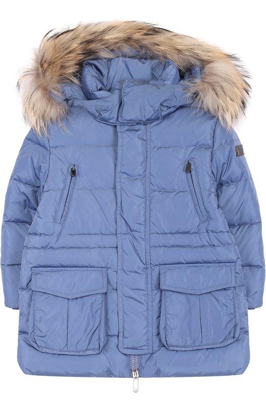 Купить Пуховая куртка с меховой отделкой на капюшоне Il Gufo, A17GP146N0031/2A-4A, Румыния, Голубой, Пух: 90%; Полиамид: 100%; Подкладка-полиамид: 100%; Отделка мех нат.: 100%; Перо: 10%;