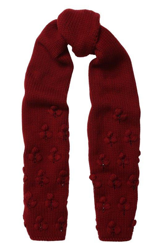 Купить Кашемировый шарф фактурной вязки с бусинами Loro Piana, FAG4381, Италия, Бордовый, Кашемир: 100%;