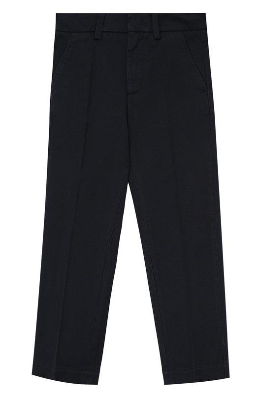 Купить Хлопковые брюки прямого кроя Moncler Enfant, C2-954-11018-90-57314/4-6A, Румыния, Темно-синий, Хлопок: 97%; Эластан: 3%;