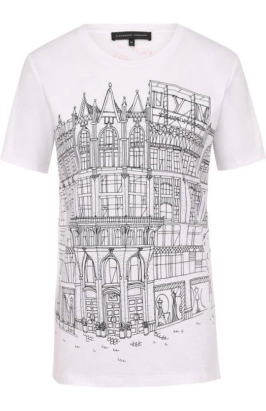 Купить Хлопковая футболка прямого кроя с принтом Alexander Terekhov, TSH053/TSUM/5701.100/TS/V, Россия, Белый, Хлопок: 100%;